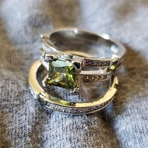 Olive green Peridot Sterling Silver 6 ring 2 pcs